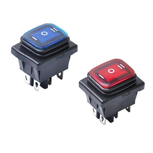 Gazechimp 2 x 30A 6-Pin 3-Position Ein-Aus-Ein Wippschalter mit LED für Fahrzeuge Auto (Marine-schalter 6)