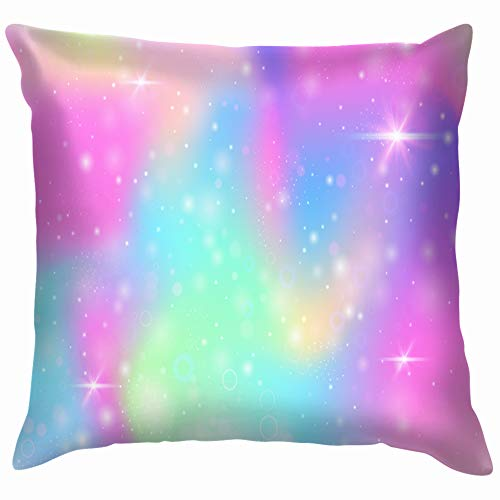 Home Fashion Pillowcase Holographic Rainbow mesh Liquid Universe Abstract Unicorn Abstract 18x18 IN -