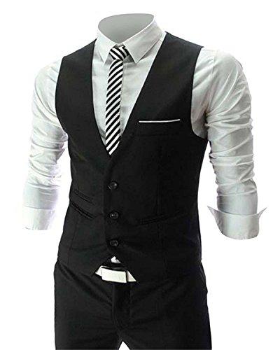 Cenizas Casual Black tuxedo waistcoat blazers for men slim fit party wear