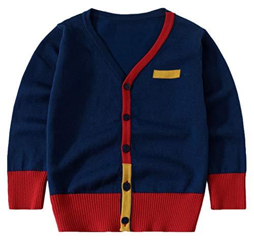 Eozy Kinder Jungen Strickjacke Herbst Winter Cardigan Langarm Pullover Dunkelblau Größe 110