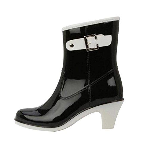 cht Regen Stiefel Hohe Knöchel Boots Gummistiefeln der Frauen Glatt Stiefeletten Schwarz Etikett LL, EU 40 ()