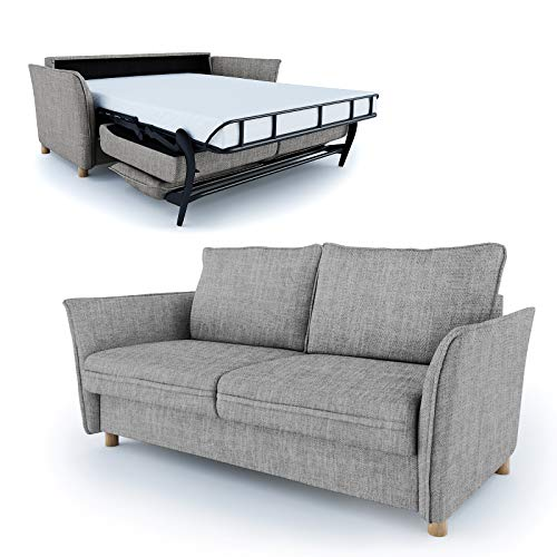 place to be Hochwertiges Schlafsofa 160 cm Liegefläche + Matratze + Lattenrost - Einfach Ausklappbar Grau Antifleck + 16 Farben -