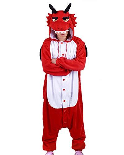 wotogold Herren Tier Drachen Pyjamas Cosplay Kostüme mit Horn Large (Dragon Horn Kostüm)