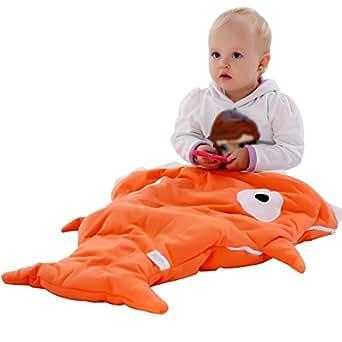 Scheppend Neonati Bambini Squalo Soffice Sacco a Pelo per Passeggino,92x62cm(Arancio)
