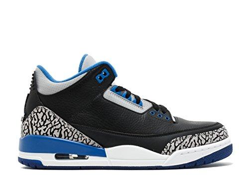 Nike Herren Air Jordan 3 Retro Turnschuhe, Schwarz/Blau/Grau (Schwarz/Sport Blau-Grauer Wolf), 45 EU (Jordan Retro 3 Sport Blue)