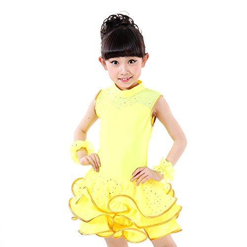 Kinder Tanzkleider Mädchen Latein Tanz Kleider Kinder Praxis Kostüme Kostüme Kostüme Kostüme Wettbewerb Pink / Gelb / Rot / Schwarz , yellow , (Wettbewerb Kostüme Tanz)