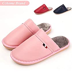 Zapatillas de Casa Mujer, CCHOME Zapatillas de Estar por Casa Impermeables de PU para Mujer Pantuflas Térmicos de Invierno