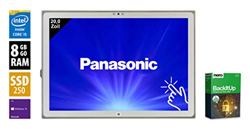 Panasonic Toughpad FZ-Y1 | Tablet | 20,0 Zoll (3840x2560) | Intel Core i5-5300U @ 2,3 GHz | 8GB DDR3 RAM | 250GB SSD | Touch | Webcam | Windows 10 Pro (Zertifiziert und Generalüberholt)