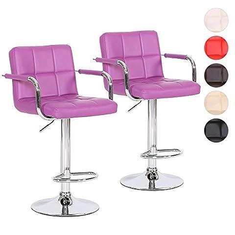 Barhocker 2er Set mit Armlehnen Tresen-Stuhl höhenverstellbar - Polsterung Kunstleder Farbwahl (Stühle Lila)
