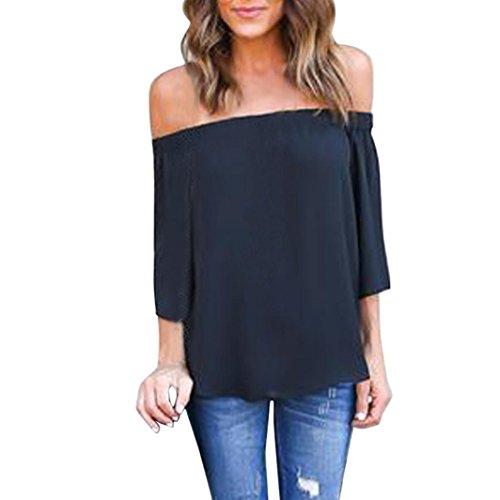 AMUSTER.DAN Mode Damen Sommer Off Shoulder Tops Geschenk T Shirt Bluse für Frauen (L, Schwarz)