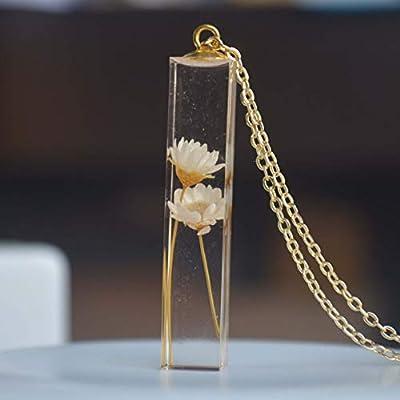 Marguerite Ivoire Vraie Fleur Transparent Cube Résine Plaqué or 18k Longue Collier