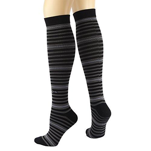 RioRiva Kompressionsstrümpfe (Spaß Muster 15-20mmHg) Herren & Damen Laufen Freizeit Socken (L: Damen EU38-42/UK5-9, CSK03L-Klassische Streifen) Radfahren Strumpfhosen Weiß