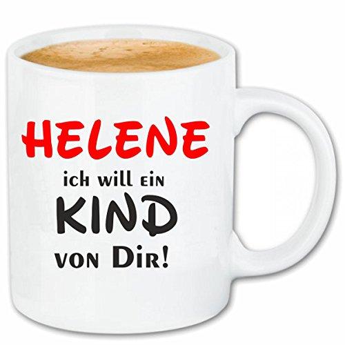 Reifen-Markt Kaffeetasse Helene Ich Will EIN Kind von Dir Keramik Höhe 9,5cm & 8cm Durchmesser 330 ml in Weiß für jeden Liebhaber/Fan genau das richtige