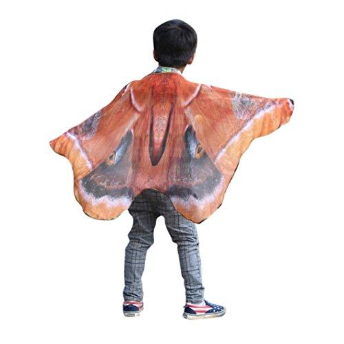 m, Dasongff Kind Kinder Jungen Mädchen Schmetterlingsflügel Kostüm Faschingskostüme Karneval Kostüm Butterfly Wing Cape Kimono Flügel Schal Cape Tuch (100*73CM, Orange) (1920er Jahre Herren Halloween-kostüme)