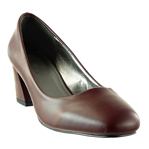 Angkorly - damen Schuhe Pumpe - Dekollete - Patent Blockabsatz high heel 5.5 CM Rot