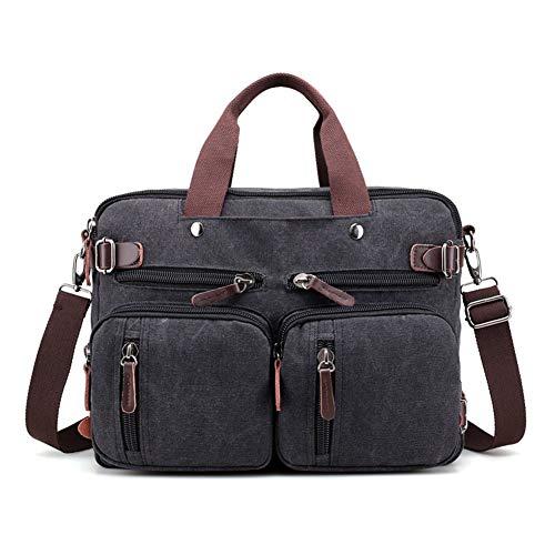 WYFDM Laptop-Taschen Leder Rucksack Fresion Cabrio Leinwand Messenger Schultertasche Männer Frauen Reisen Wandern Satchel Taschen Handtaschen (Schwarz, 14 Liter) - Cabrio-leder-satchel