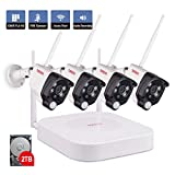 Tonton 1080P Full HD Wireless Security Camera System, 8CH NVR Recorder with 4PCS 1080P 2.0 MP Waterproof Outdoor Indoor Bullet Cameras with PIR Sensor, Audio Record and Clear Night Vision(2TB Hard drive included )