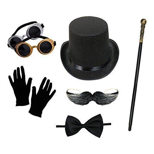Herren Steampunk Kostüm Set (Zylinder, Schutzbrille, Handschuhe, Gehstock, Fliege, Moustache)