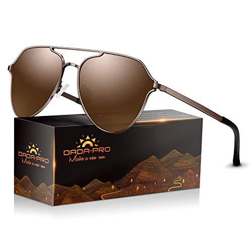 DADA-PRO Sonnenbrille Herren Pilotenbrille Damen Polarisiert Verspiegelt Retro Fahren Fahrerbrille UV400 Schutz für Autofahren Reisen Golf Party und Freizeit (Braun new)