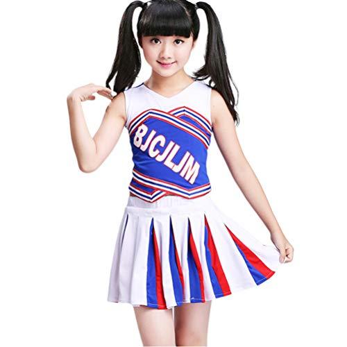 Amosfun Kid Girl Cheerleading Kostüme Uniform Cheerleader Kostüm Bekleidung 180cm Socken Ohne - Kleinkind Cheerleading Kostüm