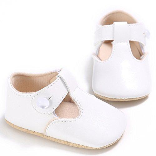 Baby Schuhe Auxma Baby weiche Sohle rutschfeste Schuhe Erste Wanderschuhe Prinzessin Schuhe Für 0-18 Monate (12 6-12 M, Weiß) Weiß