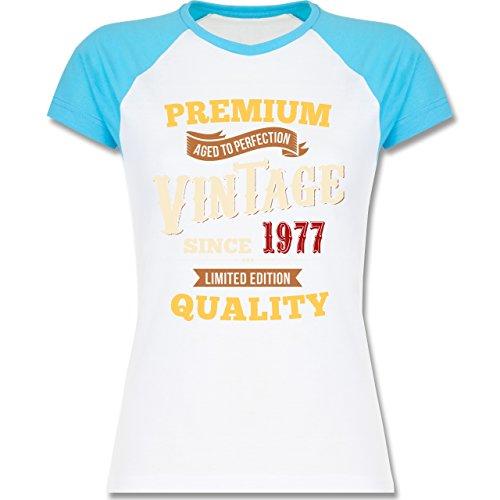 Geburtstag - 40. Geburtstag Vintage 1977 - zweifarbiges Baseballshirt / Raglan T-Shirt für Damen Weiß/Türkis