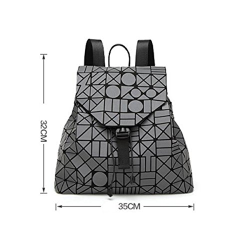 Opaco Zaino Signora Irregolare Cucitura Zaino Fulmini Forma Rhinestone Viaggi Big Bag Luminoso Colore Borsa Darkgray