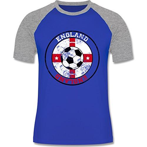 EM 2016 - Frankreich - England Kreis & Fußball Vintage - zweifarbiges Baseballshirt für Männer Royalblau/Grau meliert