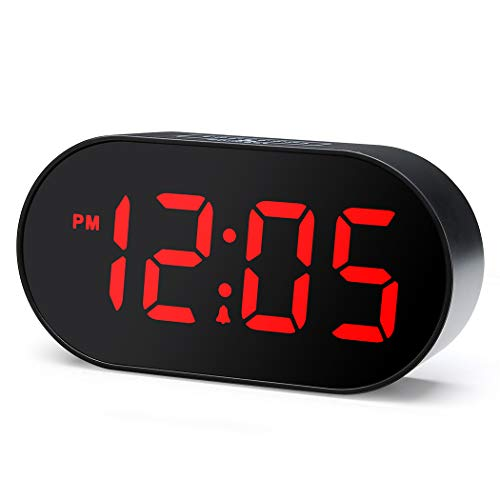Plumeet Digitaler LED Wecker mit Dimmer und Schlummerfunktion, 2-stufige Wecklautstärke optional, große rote Anzeige, Nachttischuhr mit USB-Anschluss Telefonladegerät, einfache Bedienung (Black)