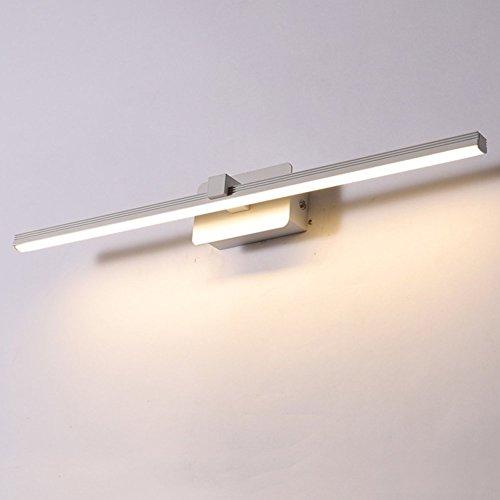 Topdeng Led Spiegel-leuchte Wandlampe, Badezimmer Spiegellicht, Modern Einfache Kosmetikspiegel Edelstahl Aluminium Badezimmer Wandleuchten-Kaltweiß-Weiß-12W 60cm(24inch)