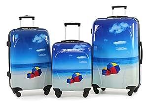 Rock Miro Printed Hardshell Set of 3 Spinner Luggage in Beach Print