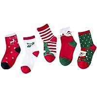 Baby Socken Winter,Covermason 5 Paar Säugling Kleinkind Baby Junge Mädchen Weihnachten Socken Cartoon Tiere Anti-Rutsch Gestrickt Warm Babysocken