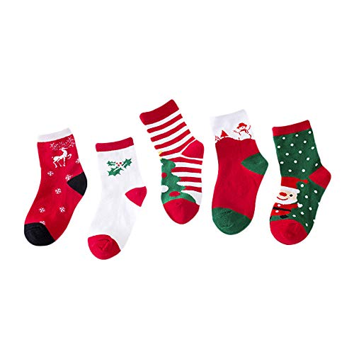 Pair Mädchen Kostüm Men's - LEXUPE 5 Pair Cute Baby Kids Christmas Casual Socks Cute Unisex Socks(Rot,Medium)