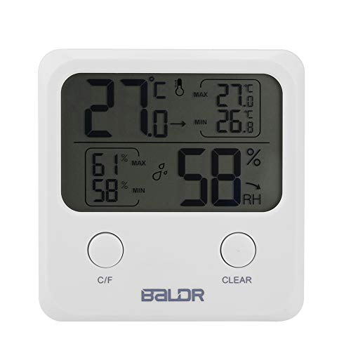 Thermo-Hygromètre Électronique Thermomètre d'Intérieur Écran LCD Digital pour L'affichage de Température et Humidité avec Support et Trou de Suspension pour Ecole Bureau Domicile
