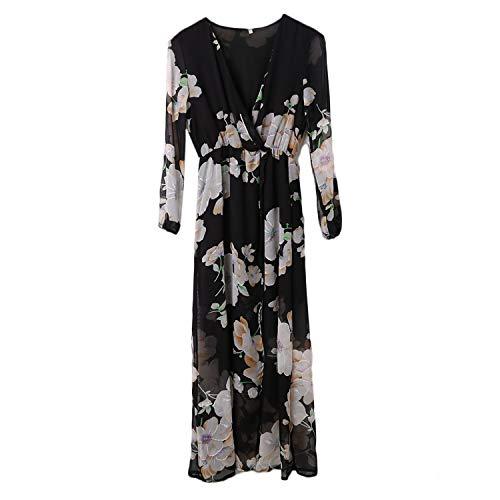 TRFLH& 2017 Women Ladies Floral Print Long Sleeve Deep V-Neck Black Color Boho Evening Party Long Maxi Dress Black L Jovani Homecoming
