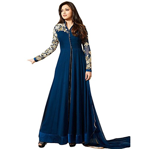 Ethnic Empire Women\'s Georgette Semi Stitched Anarkali Salwar Suits (Eeas_Ea10608_Blue Free Size)