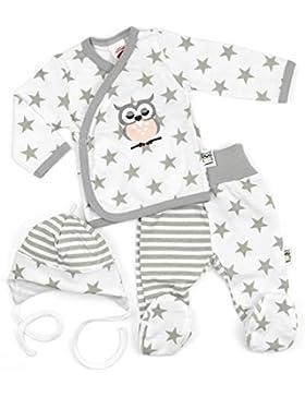 Makoma Baby Set Wickelshirt + Hose + Mütze weiß-grau | Motiv: Eule Sterne | Babyset 3 Teile mit Sternmotiv für...