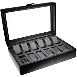 Dulwich Designs Connoisseur Collection Leather Watch Box with Cushioned Grey Lining High Quality Watch Display Cases Perfect for Breitling Omega Rolex Cartier Tag etc