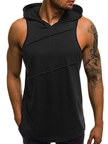 OZONEE Mix Herren Tanktop Tank Top Tankshirt T-Shirt Kapuze Unterhemden Ärmellos Muskelshirt Fitness MAD/2538 Schwarz M