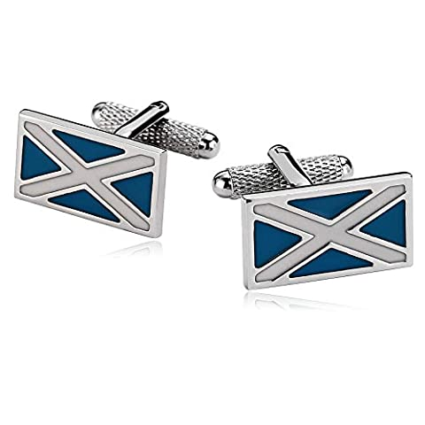 Epinki Rectangle 2-color Cross Lines Letter X Blue White Stainless Steel Cufflinks Men Wedding