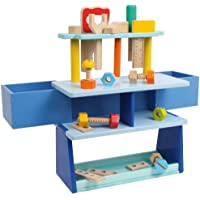 Blue Wooden Toy Fold Out Workbench