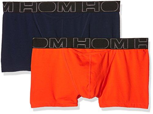 HOM Herren Boxershorts 400405, 2er Pack Multicolore (Marine/Orange)