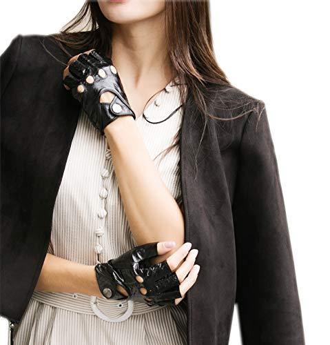 Yiseven guanti da equitazione in pelle di pecora senza dita donna sottili mezze dita senza fodera per moto da lavoro invernale, pelle di serpente nera 8.0 x-large