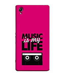 FUSON Designer Back Case Cover for Sony Xperia Z4 Compact :: Sony Xperia Z4 Mini (Fun Musical tape recorder pink black Cartoon)