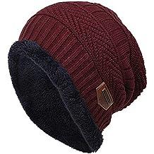 48a142250e5d5 BHYDRY Colores de Contraste de Lana de Moda de Punto cálidos Sombreros de  Invierno para Mujeres