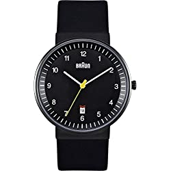 Braun Men's Quartz Three Hand Movement Watch with Analogue Display and Leather Strap