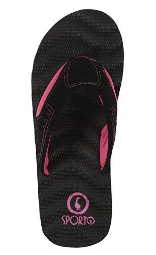 Sporto Mesdames Confort Plage Tongs Black/Black/Pink