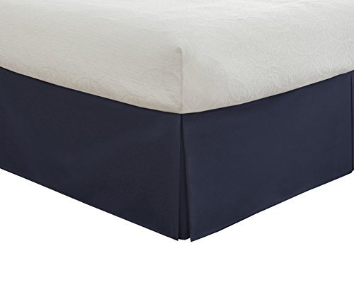 Lux Hotel Bedding Tailored Bed Skirt, Classic 14 Drop Length, Pleated Styling, Full, Navy by Lux Hotel Pleated Drop