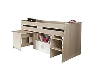 parisot 2498comb lucas lit combin 90x190 90x200 panneaux de particules acacia clair blanc 206. Black Bedroom Furniture Sets. Home Design Ideas