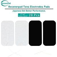 RecoverPad 20pcs 50x100mm Profesional TENS Electrodos,3rd Gel japonés Sin látex Electrodos(CE/FDA Aprobado),Mejor desempeño autoadherente para electroestimuladores TENS EMS
